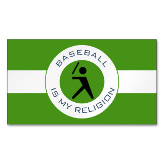 BASEBALL IS MY RELIGION 	Magnetic BUSINESS CARD
