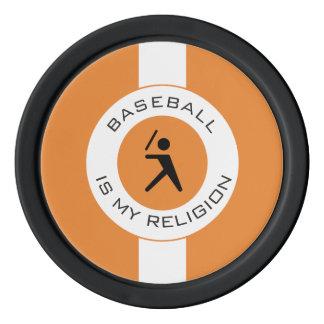 BASEBALL ISMY RELIGION SET OF POKER CHIPS