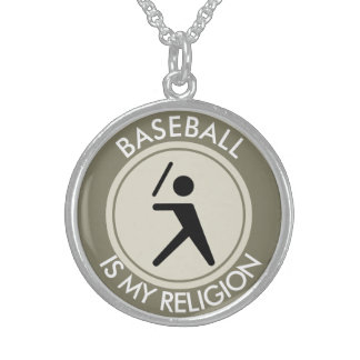 BASEBALL IS MY RELIGION STERLING SILVER NECKLACE
