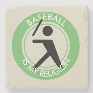 BASEBALL IS MY RELIGION STONE COASTER