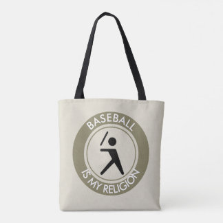 BASEBALL IS MY RELIGION TOTE BAG