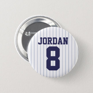 Baseball Jersey with Custom Name and Number 6 Cm Round Badge