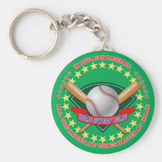 Baseball Key Ring Basic Round Button Key Ring