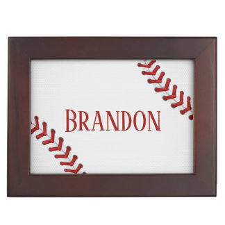 Baseball Laces Bases Ball Red White Game Name Keepsake Box