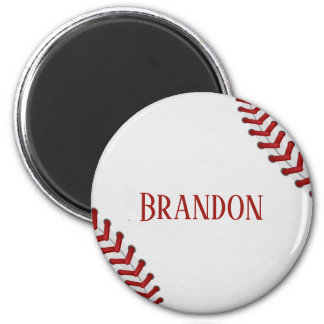 Baseball Laces Bases Ball Red White Game Name Magnet