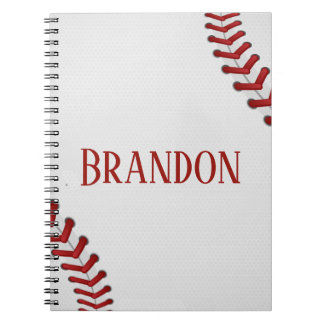 Baseball Laces Bases Ball Red White Game Name Notebook