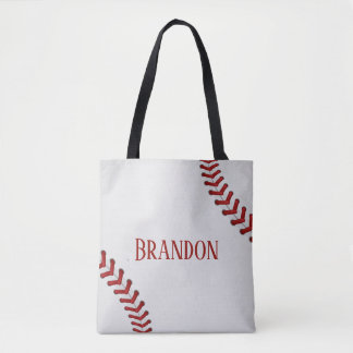 Baseball Laces Bases Ball Red White Game Name Tote Bag