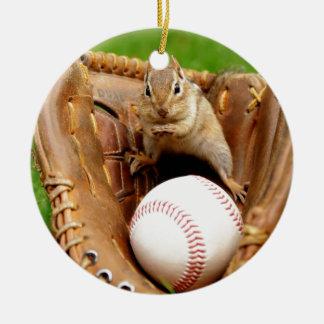Baseball Loving Chipmunk Ceramic Ornament