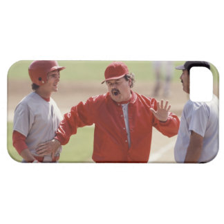 Baseball manager arguing with umpire and holding iPhone 5 covers