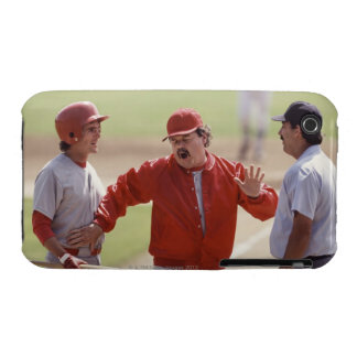 Baseball manager arguing with umpire and holding iPhone 3 Case-Mate case
