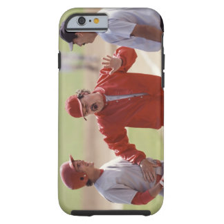 Baseball manager arguing with umpire and holding tough iPhone 6 case