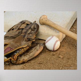 Baseball, Mitt, and Bat on Base Print