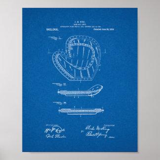 Baseball Mitt Patent - Blueprint Poster