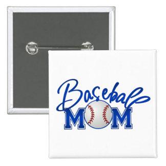 Baseball MOM blue Pinback Button