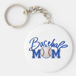 Baseball MOM blue Basic Round Button Key Ring