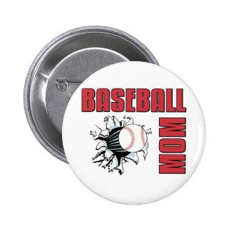Baseball Mom Pinback Buttons