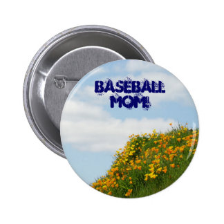 Baseball Mom buttons Blue Sky Poppies Meadow
