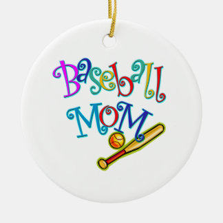 Baseball Mom Round Ceramic Decoration