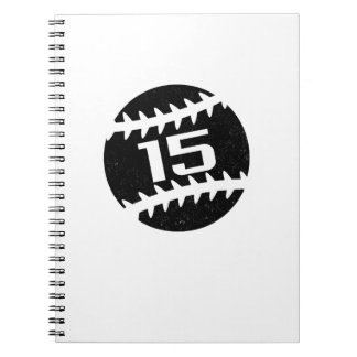 Baseball Number 15 year old Birthday Gift Notebooks