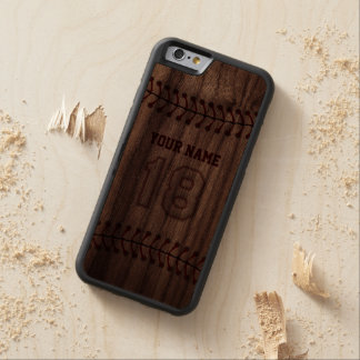 Baseball Number 18 with Your Name - Wooden Sporty Carved Walnut iPhone 6 Bumper Case