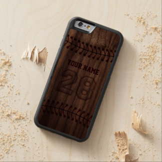Baseball Number 28 with Your Name - Wooden Sporty Carved Walnut iPhone 6 Bumper Case