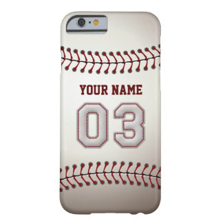 Baseball Number 3 with Your Name - Modern Sporty Barely There iPhone 6 Case