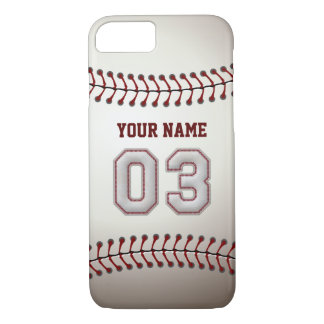 Baseball Number 3 with Your Name - Modern Sporty iPhone 7 Case