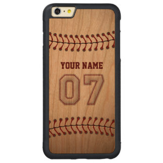 Baseball Number 7 with Your Name - Wooden Sporty Carved Cherry iPhone 6 Plus Bumper Case