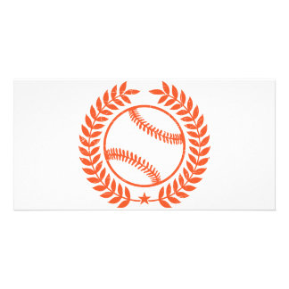 Baseball Olive Branch and Star Personalized Photo Card