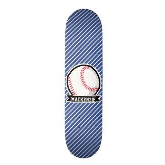 Baseball on Blue & White Stripes Skate Boards