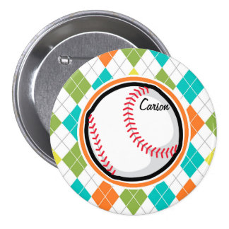 Baseball on Colorful Argyle Pattern Buttons