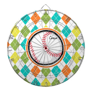 Baseball on Colorful Argyle Pattern Dartboards