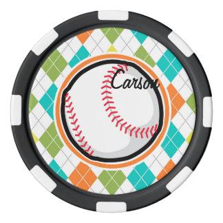 Baseball on Colorful Argyle Pattern Set Of Poker Chips