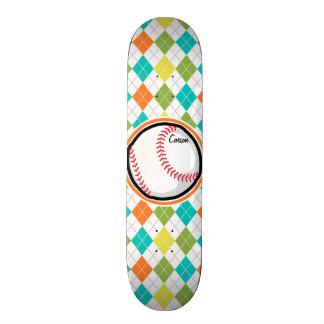 Baseball on Colorful Argyle Pattern Skate Board