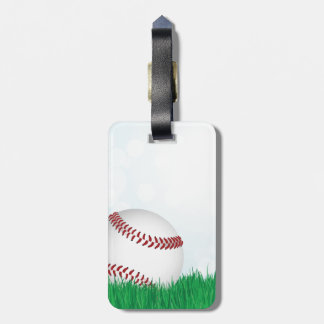 baseball on grass bag tag