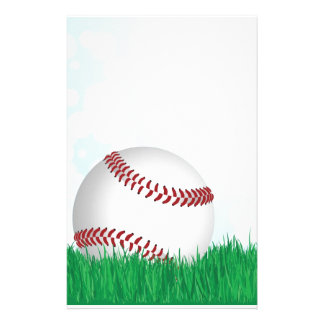 baseball on grass stationery