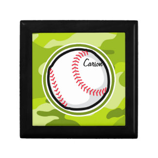 Baseball on Green Camo, Camouflage Small Square Gift Box
