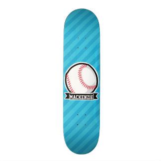 Baseball on Sky Blue Stripes Skateboard