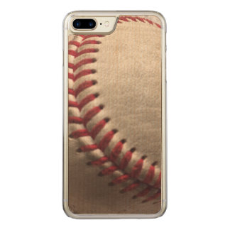 Baseball on wood carved iPhone 7 plus case