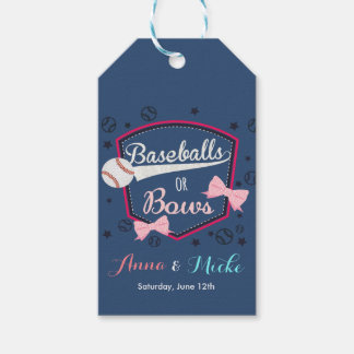 Baseball or bows Gender Reveal Gift Tags
