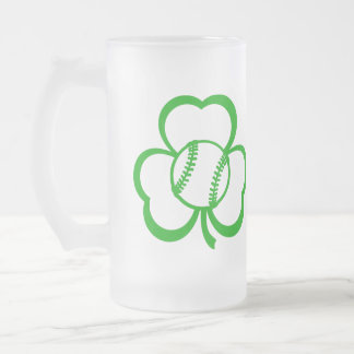 Baseball or Softball Three Leaf Clover for St. Pat 16 Oz Frosted Glass Beer Mug