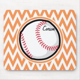 Baseball Orange and White Chevron Mouse Pads