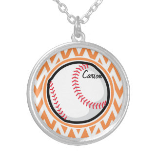 Baseball Orange and White Chevron Pendants