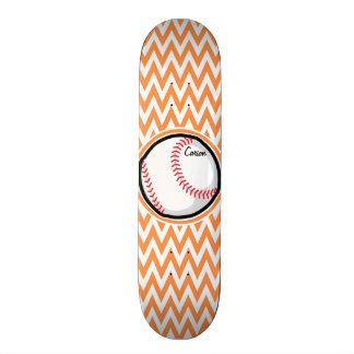 Baseball Orange and White Chevron Skate Board Decks