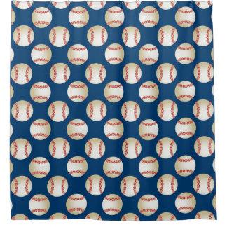 Baseball Pattern Sport Theme Navy Blue Shower Curtain