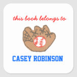 Baseball personalised bookplates for kids square sticker