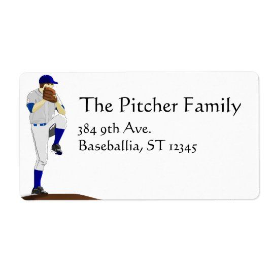 Baseball Pitcher Label Shipping Label