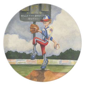 Baseball Pitcher on Mound by Jay Throckmorton Plate