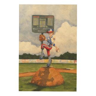 Baseball Pitcher on Mound by Jay Throckmorton Wood Wall Art