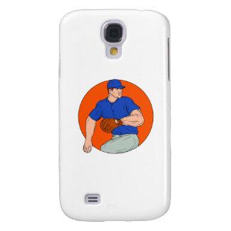 Baseball Pitcher Ready To Throw Ball Circle Drawin Galaxy S4 Case
